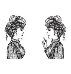 retro women conversation vector image