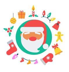 santa claus and icons vector image