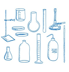 Science laboratory equipment - doodle style vector