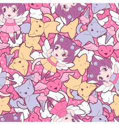 Seamless pattern with doodle kawaii vector