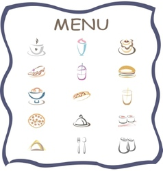 Set of flat design icons for restaurant food and vector image vector image