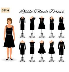 Stylich woman character in little black dress set vector