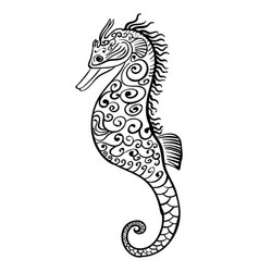 stylized black and white icon of a seahorse vector image vector image