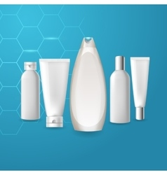 Realistic cosmetic bottle tube mock up set vector