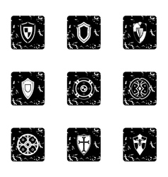 Army shield icons set grunge style vector