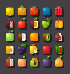 Square shaped fruit icon set vector