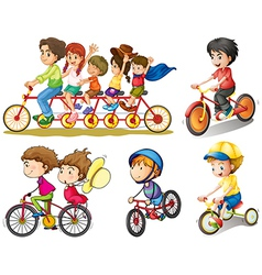 A group of people biking vector