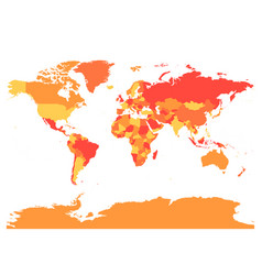 world map in warm colors high detail blank vector image