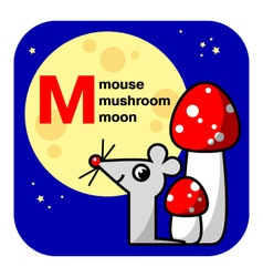 Abc moon mouse mushroom vector