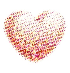 Word cloud heart vector