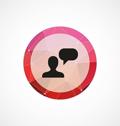 Conversation circle pink triangle background icon vector