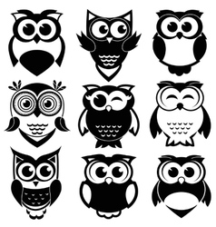 Cute black and white owls set vector
