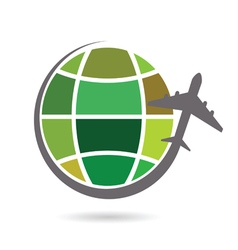 Planet earth with airplane color vector