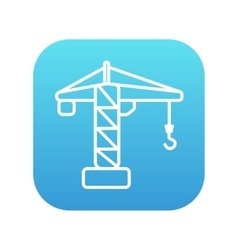 Construction crane line icon vector