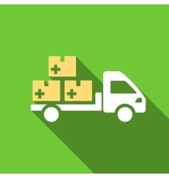 Medication delivery flat long shadow square icon vector