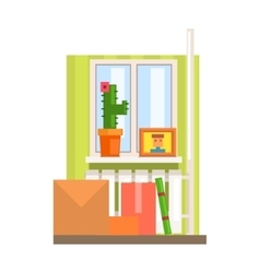 Room interior with boxes vector