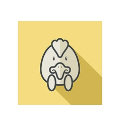 Chicken flat icon animal head vector