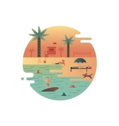Beach icon with palm and people vector