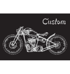 Hand-painted motorcycle and lettering vector
