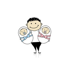 Happy father with newborn twins vector