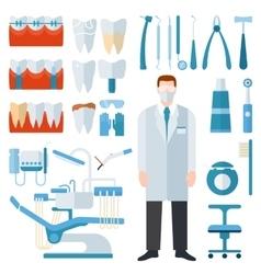 Dentist symbols set vector image