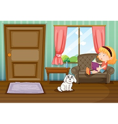 A girl reading a book with a dog vector image