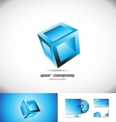 Blue cube box 3d logo icon design games vector image vector image