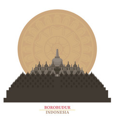 borobudur indonesia with decoration background vector image