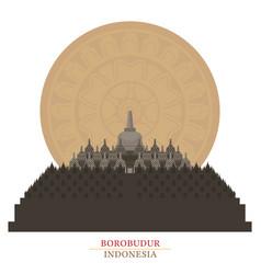 Borobudur indonesia with decoration background vector