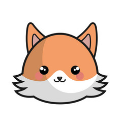 cute and tender fox kawaii style vector image vector image