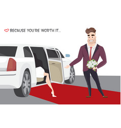 famous girl out of limo on red carpet vector image