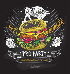 fast food logo design template hamburger vector image