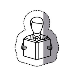 figure emblem man to read a book icon vector image