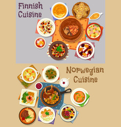 Finnish and norwegian cuisine dinner icon set vector