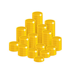 gold coins mountain cartoon style isolated vector image vector image