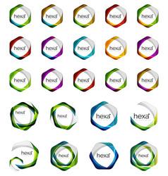 hexagon icons minimalistic geometric vector image