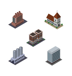 Isometric construction set of chapel office vector