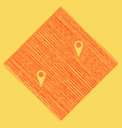 Location pin navigation map gps sign red vector