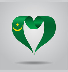 mauritanian flag heart-shaped ribbon vector image vector image