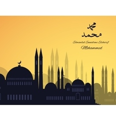 Mosques silhouette on sunset sky background vector