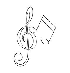 Music key and notes icon outline style vector image