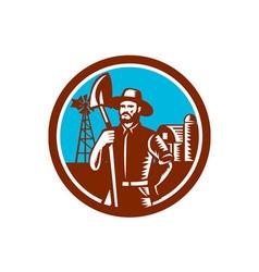 Organic farmer shovel windmill woodcut retro vector
