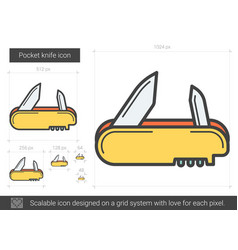 Pocket knife line icon vector