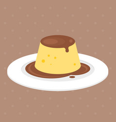 pudding or custard with caramel vector image vector image