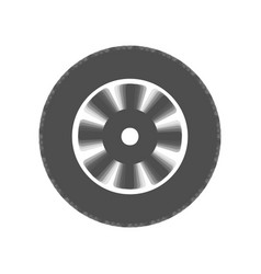 Road tire sign gray icon shaked at white vector