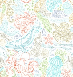 Seamless pattern of wild ocean life vector