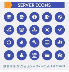 Server icon set Material circle buttons vector image vector image