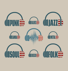 Silhouettes of headphones with text vector