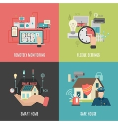 Smart home 4 flat icons square vector image vector image