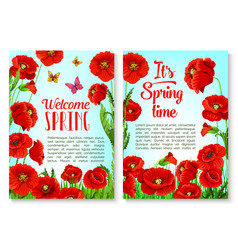 Spring season floral greeting card template vector